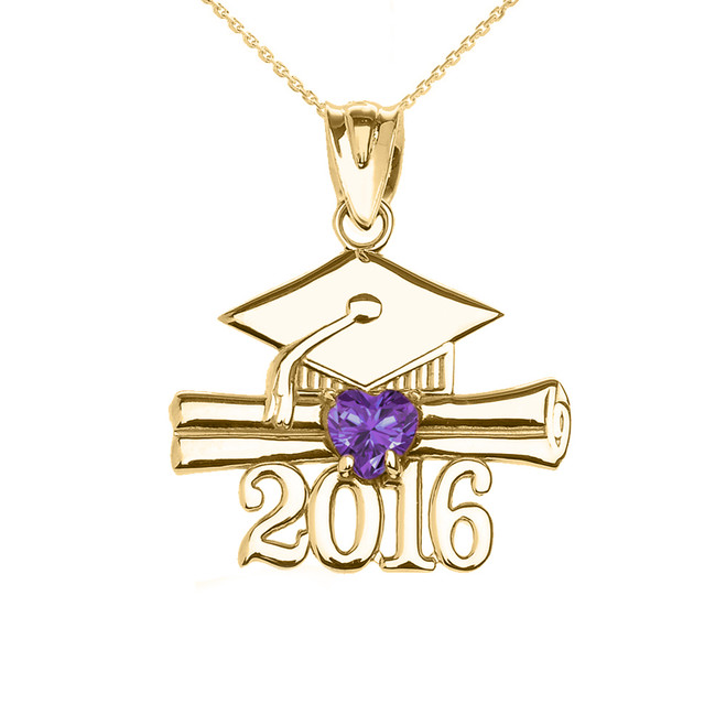 Yellow Gold Heart June Birthstone Light Purple Cz Class of 2016 Graduation Pendant Necklace