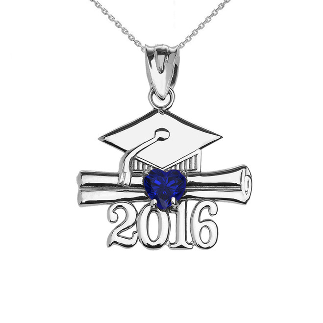 Sterling Silver Heart September Birthstone Blue Cz Class of 2016 Graduation Pendant Necklace