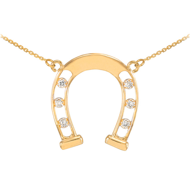 14k Gold Good Luck Horseshoe Necklace with Diamonds