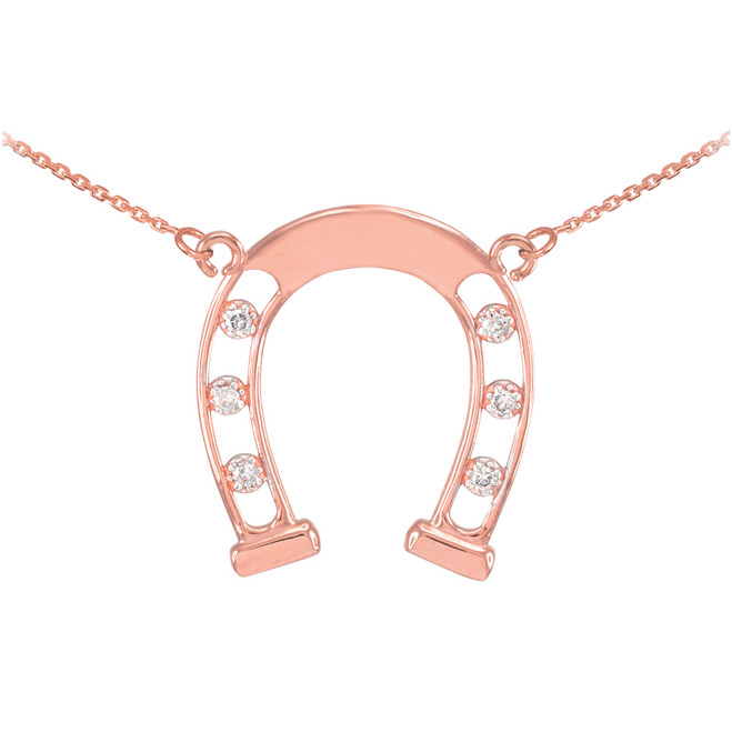 14k Rose Gold Good Luck Horseshoe Necklace with Diamonds
