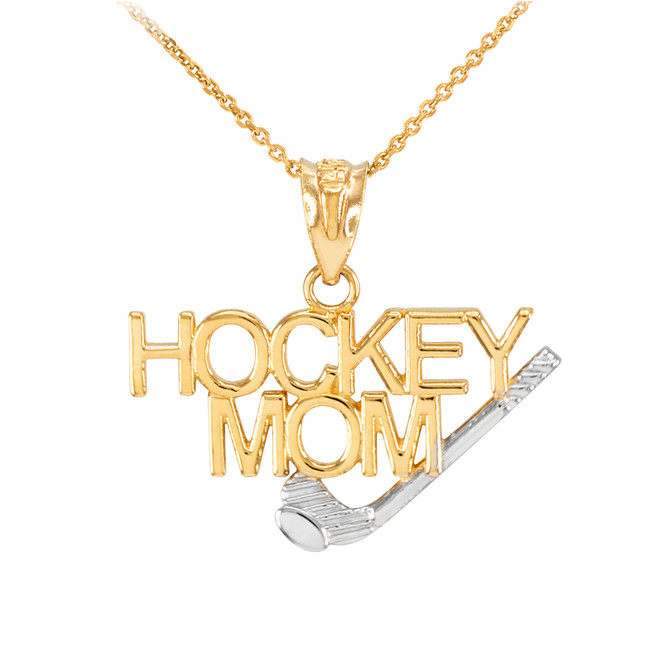 Two-Tone Gold HOCKEY MOM Sports Pendant Necklace