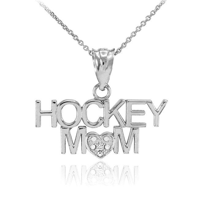 925 Sterling Silver HOCKEY MOM Heart CZ Pendant Necklace