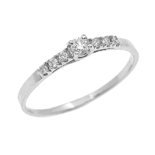 White Gold Diamond Fine Solitaire Engagement Proposal Ring