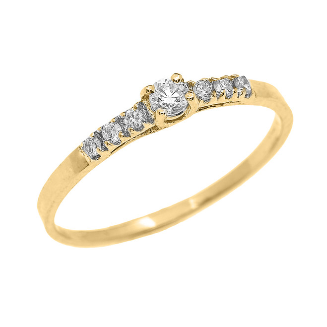Yellow Gold Diamond Fine Solitaire Engagement Proposal Ring
