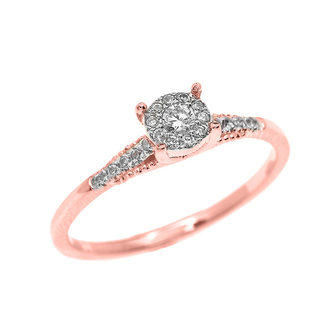 Rose Gold Halo Diamond Elegant Solitaire Engagement Proposal Ring