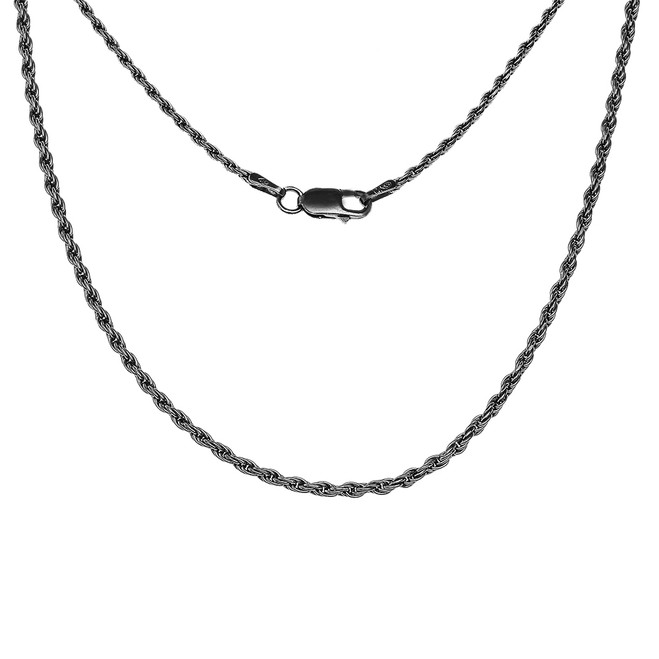Sterling Silver Antique Vintage Style Classic Black Rope Chain (1.5mm)