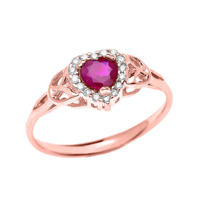 Elegant Rose Gold Diamond and Ruby Heart Trinity Knot Engagement Proposal Ring