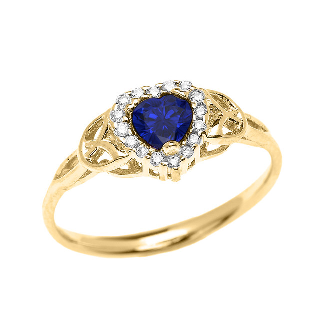 Elegant Yellow Gold Diamond and Sapphire Heart Trinity Knot Engagement Proposal Ring