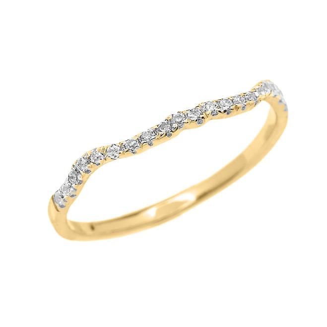 Yellow Gold Diamond Dainty Matching Wedding Band