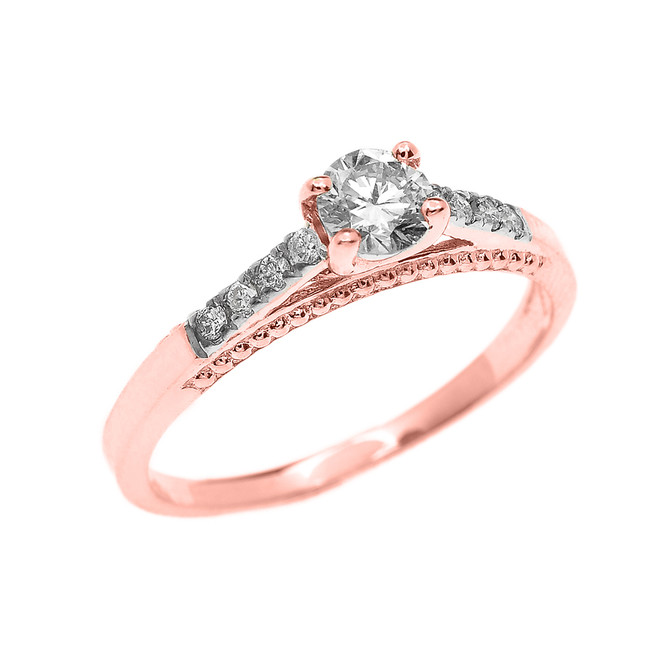 Rose Gold 0.25 Carat Solitaire Diamond Dainty Engagement Proposal Ring