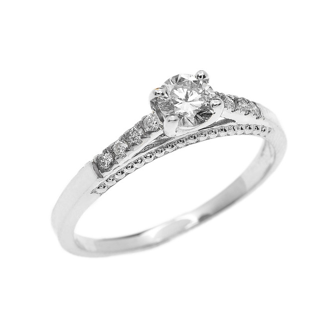 White Gold 0.25 Carat Solitaire Diamond Dainty Engagement Proposal Ring