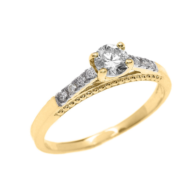 Yellow Gold 0.25 Carat Solitaire Diamond Dainty Engagement Proposal Ring