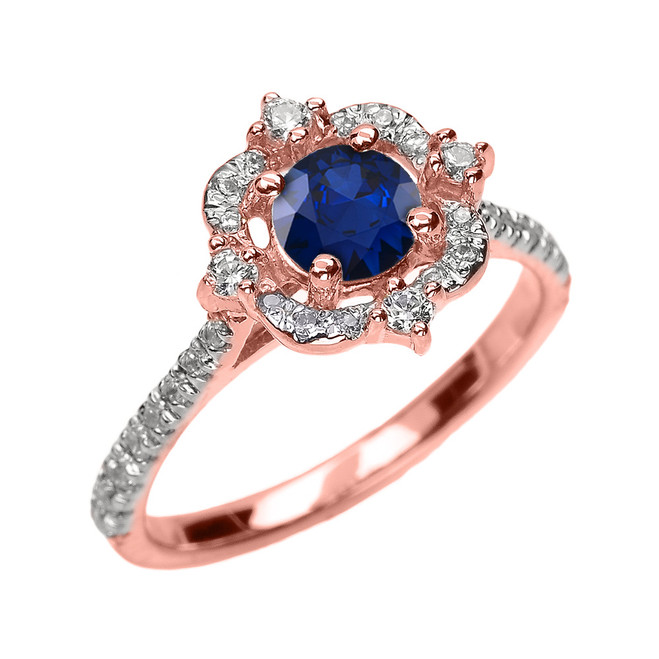 Rose Gold Genuine Sapphire And Diamond Dainty Engagement Proposal Ring