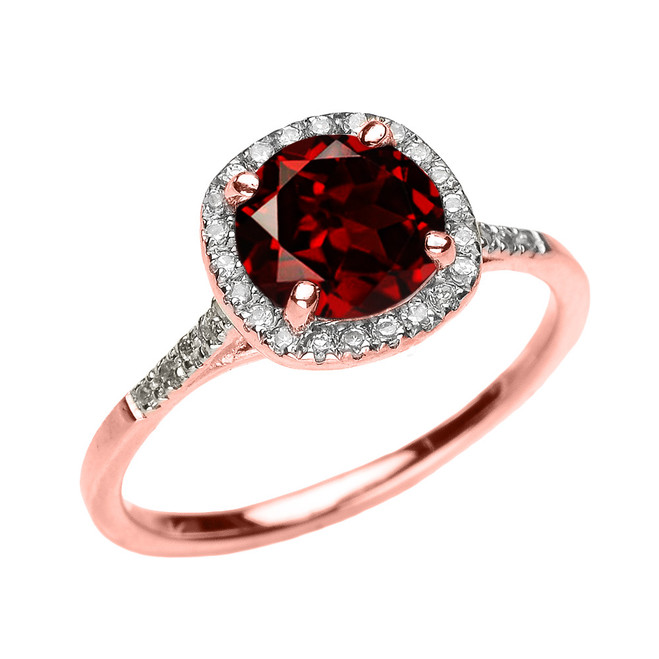 Rose Gold Halo Diamond and Genuine Garnet Dainty Engagement Proposal Ring