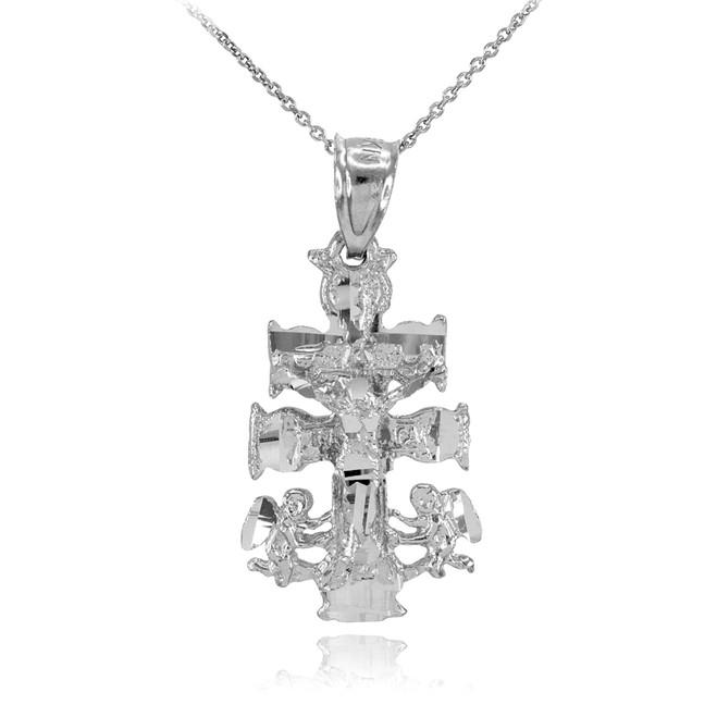 White Gold Caravaca Crucifix Cross Charm Pendant Necklace