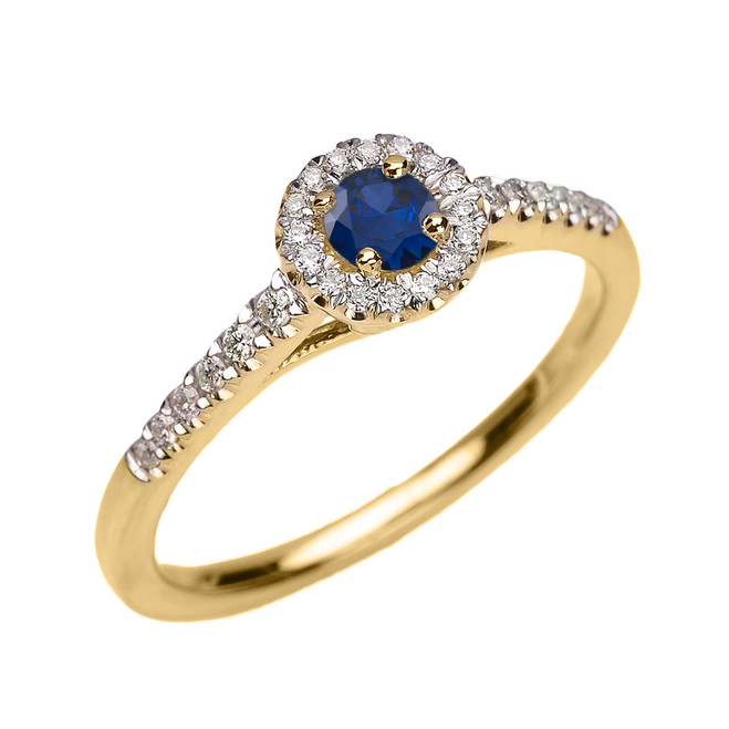 Yellow Gold Diamond and Sapphire Dainty Engagement Proposal Ring