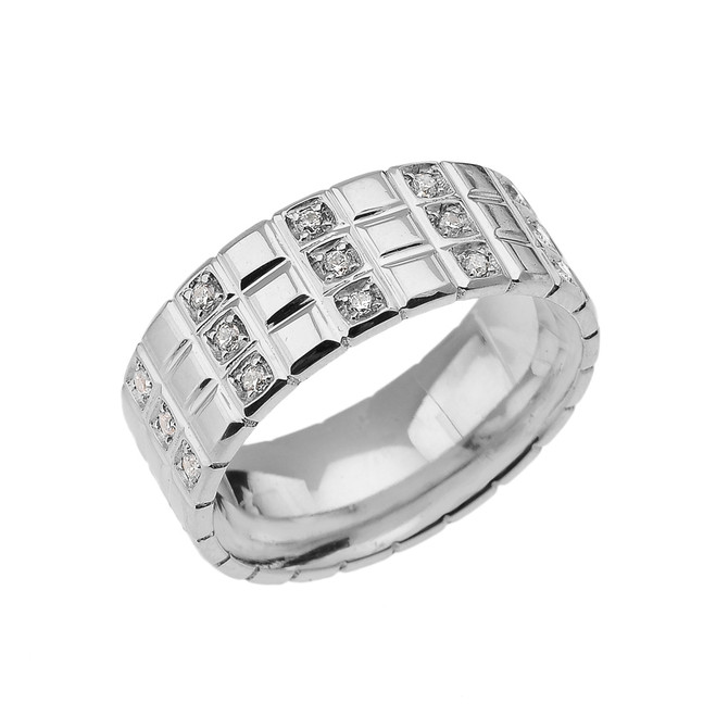 Sterling Silver Diamond Checkerboard Men's Wedding Band Ring