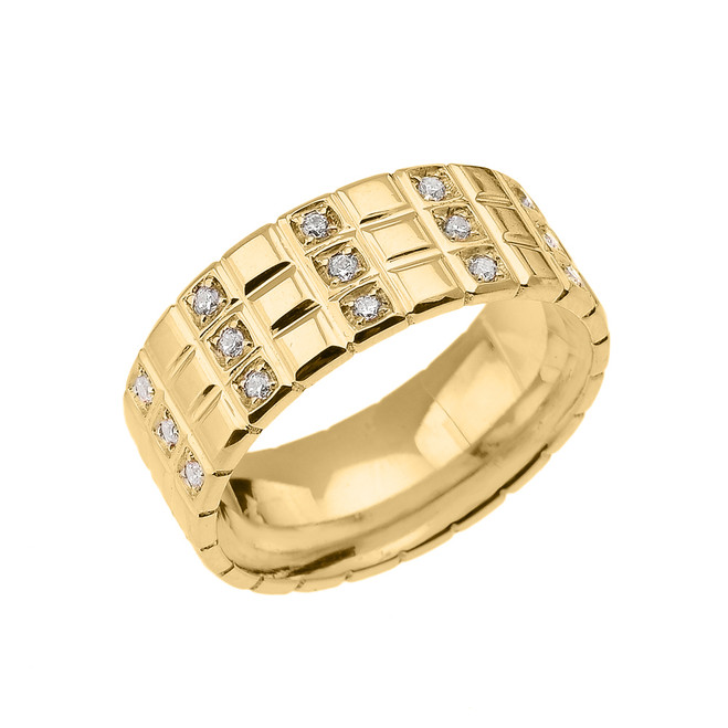 white gold cz checkerboard s wedding band ring
