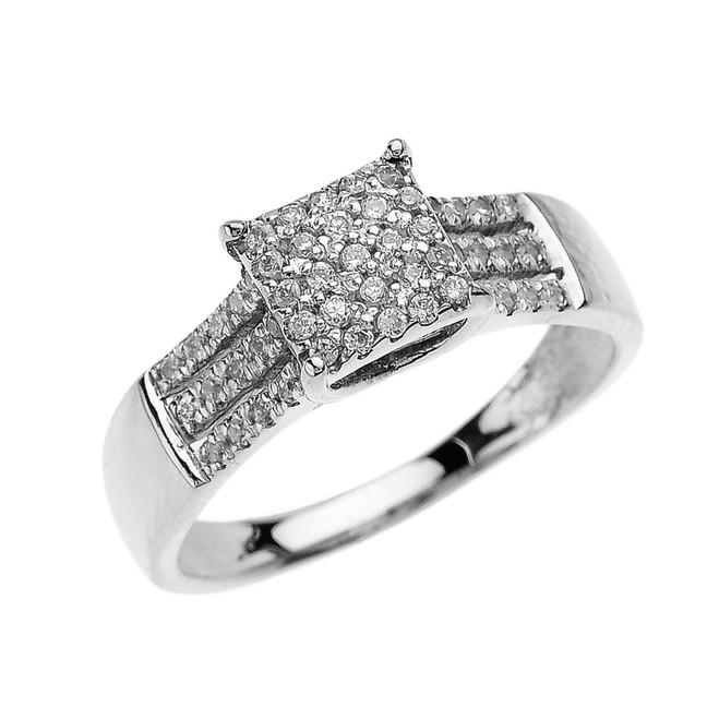 Beautiful White Gold Three Row Micro Pave Diamond Engagement Ring