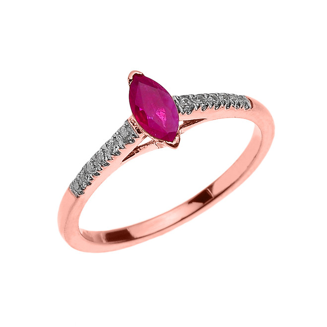Rose Gold Ruby and Diamond Modern Engagement Ring