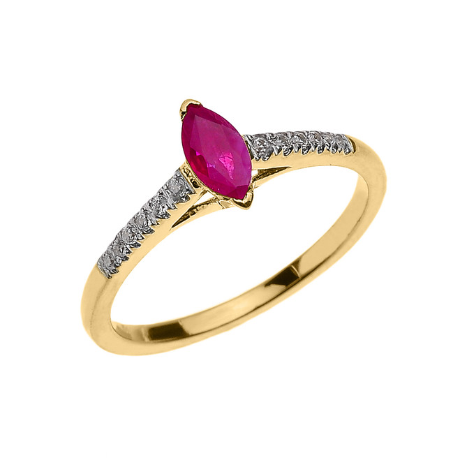 Yellow Gold Ruby and Diamond Modern Engagement Ring