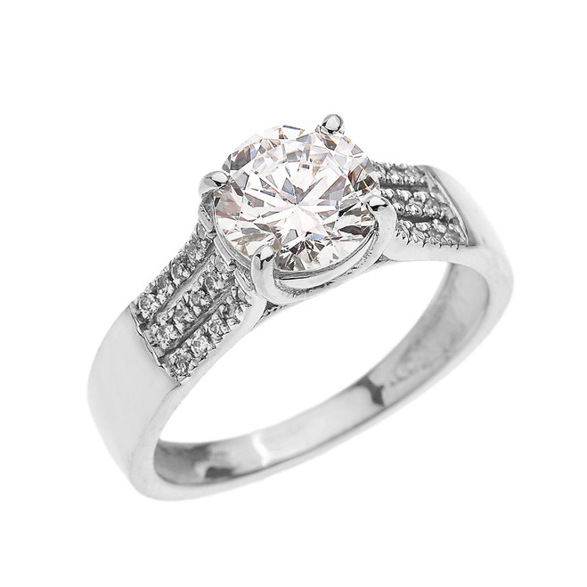 3 Carat Total Weight Cubic Zirconia White Gold Engagement and Proposal Ring (Micro Pave setting)