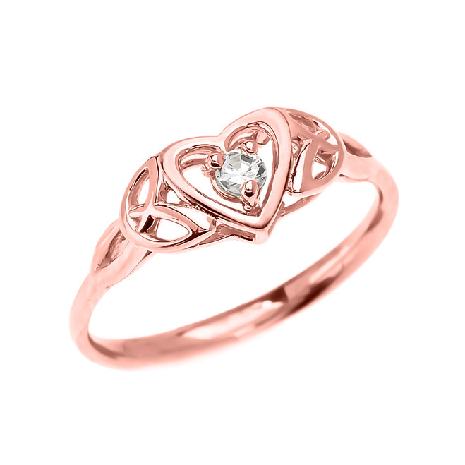 Trinity Knot Heart Solitaire CZ (Cubic zirconia) Rose Gold Engagement Proposal Ring