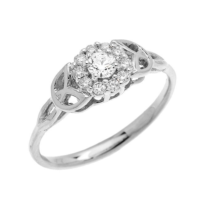 Trinity Knot Halo CZ Solitaire White Gold Engagement Proposal Ring