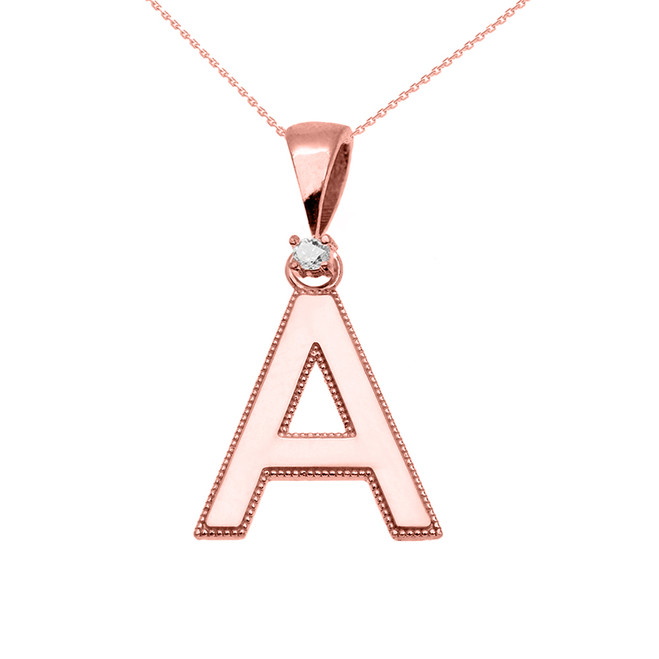 "Rose Gold High Polish Milgrain Solitaire Diamond ""A"" Initial Pendant Necklace"