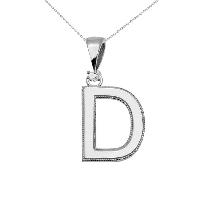 "White Gold High Polish Milgrain Solitaire Diamond ""D"" Initial Pendant Necklace"