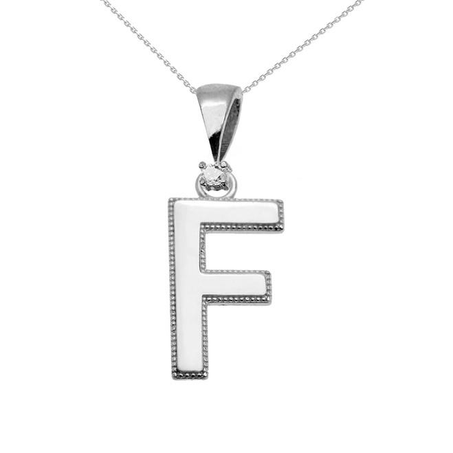 "White Gold High Polish Milgrain Solitaire Diamond ""F"" Initial Pendant Necklace"