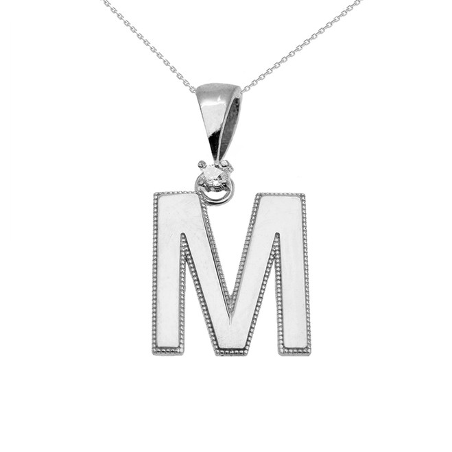 "White Gold High Polish Milgrain Solitaire Diamond ""M"" Initial Pendant Necklace"
