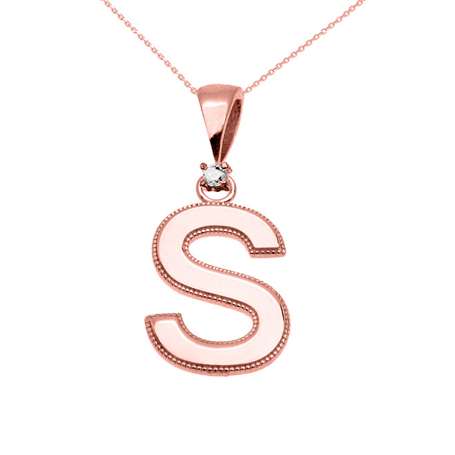 "Rose Gold High Polish Milgrain Solitaire Diamond ""S"" Initial Pendant Necklace"
