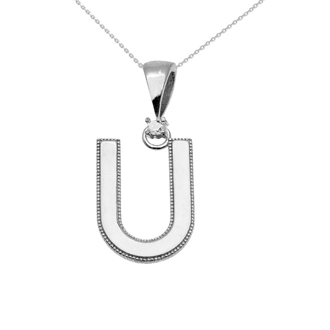 "White Gold High Polish Milgrain Solitaire Diamond ""U"" Initial Pendant Necklace"