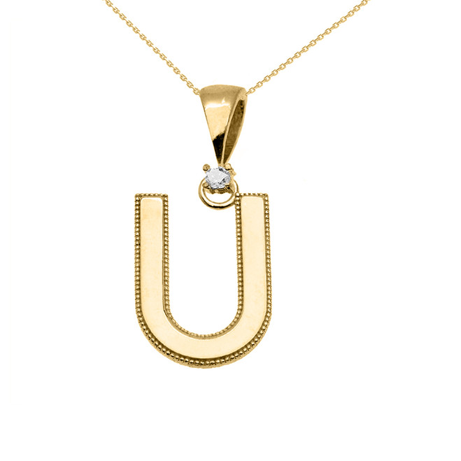 "Yellow Gold High Polish Milgrain Solitaire Diamond ""U"" Initial Pendant Necklace"