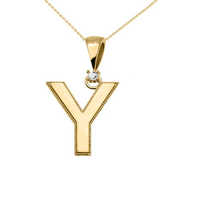 "Yellow Gold High Polish Milgrain Solitaire Diamond ""Y"" Initial Pendant Necklace"