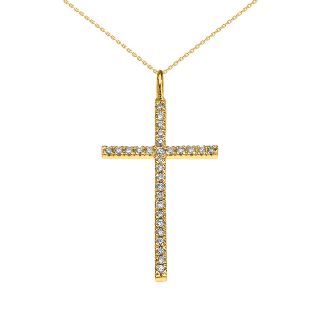 Yellow Gold Dainty Diamond Cross Pendant Necklace