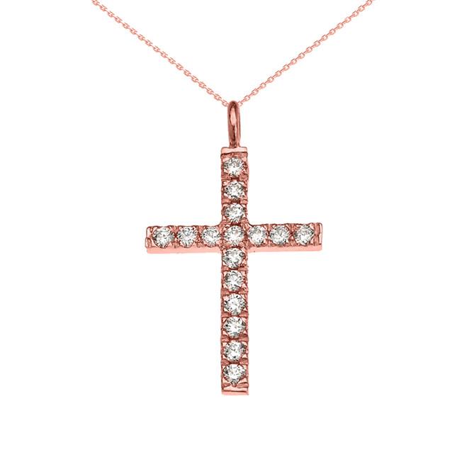 Elegant Rose Gold Diamond Cross Pendant Necklace
