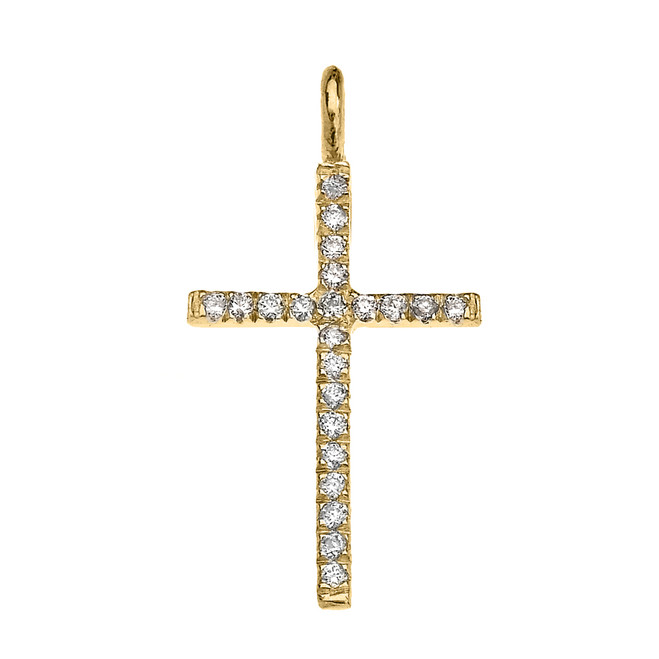 Yellow Gold Cubic Zirconia Fine Cross Pendant Necklace