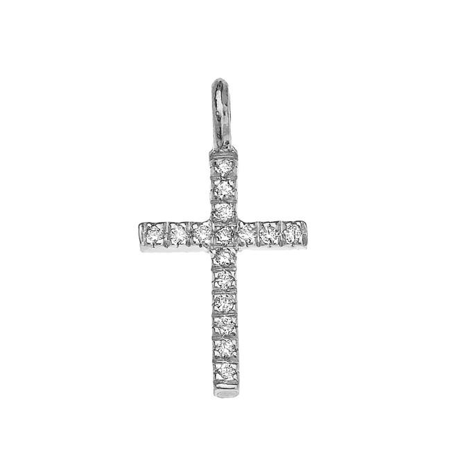 White Gold Diamond Cross Charm Pendant Necklace