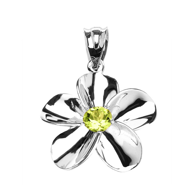 White Gold Hawaiian Plumeria Genuine Peridot Pendant Necklace