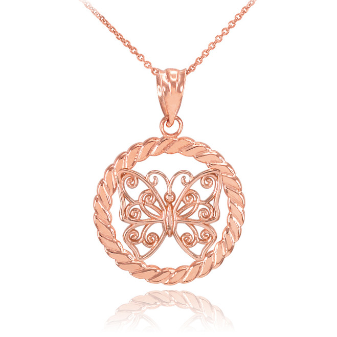 Rose Gold Filigree Butterfly in Circle Rope Pendant Necklace