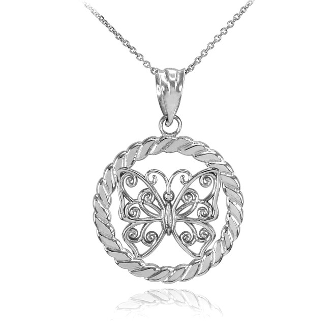 Silver Filigree Butterfly in Circle Rope Pendant Necklace