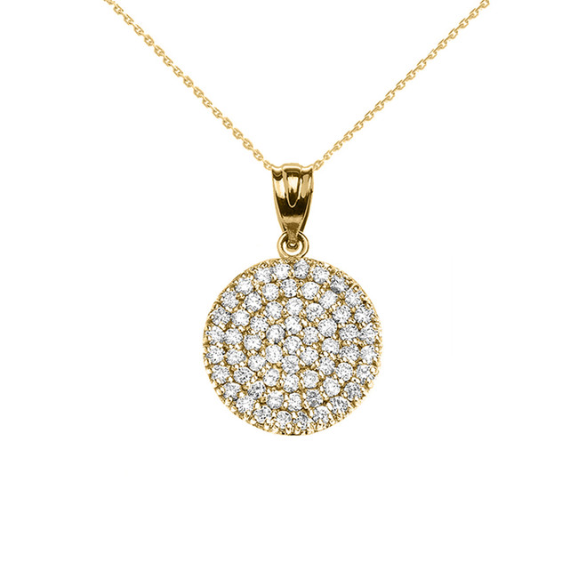 14K Yellow Gold 0.5 Carat Micro-pave Diamond Circle (21 mm) Necklace