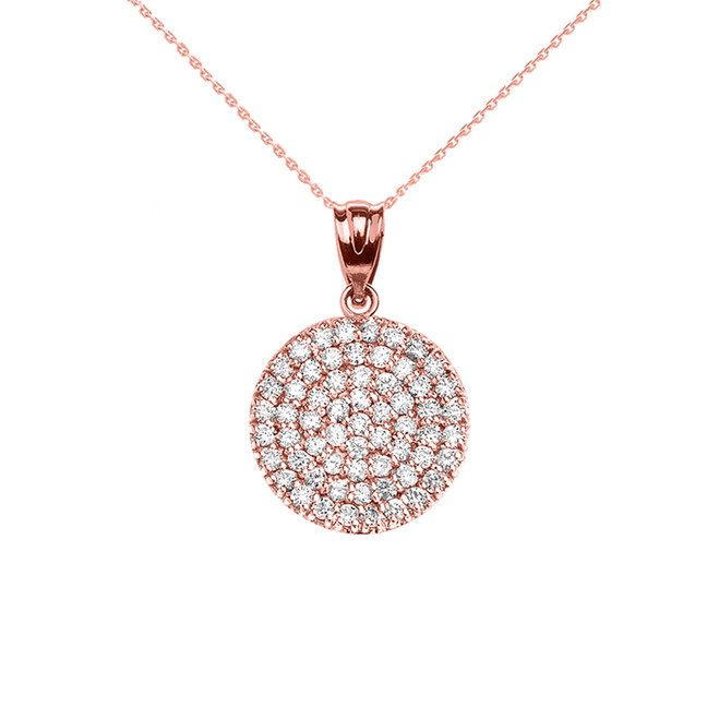 14K Rose Gold 0.5 Carat Micro-pave Diamond Circle (21 mm) Necklace
