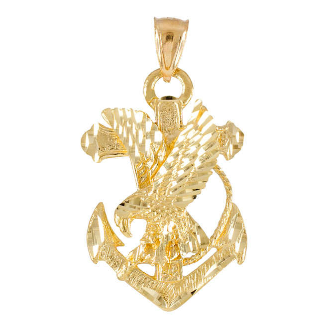 Gold Mariner Crucifix Anchor Cross Pendant Necklace Gold