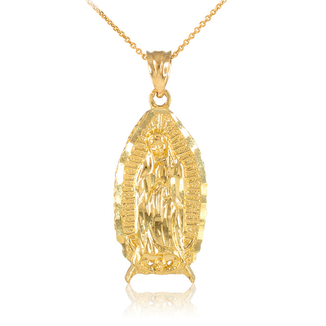 Gold Blessed Our Lady of Guadalupe Pendant Necklace