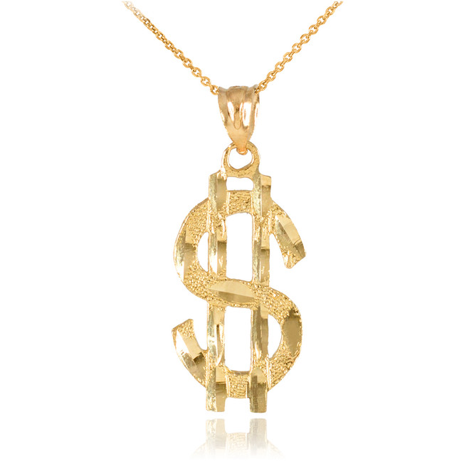 Yellow Gold Dollar Sign Pendant Necklace