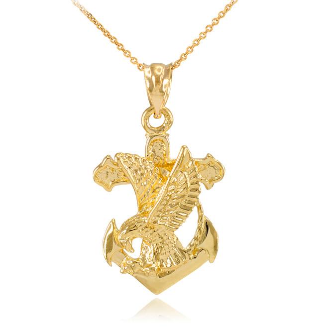 Gold Anchor Eagle Diamond Cut Pendant Necklace