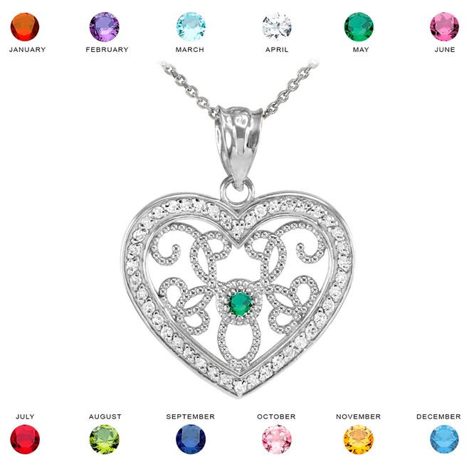 White Gold Filigree Heart Diamond and CZ Pendant Necklace